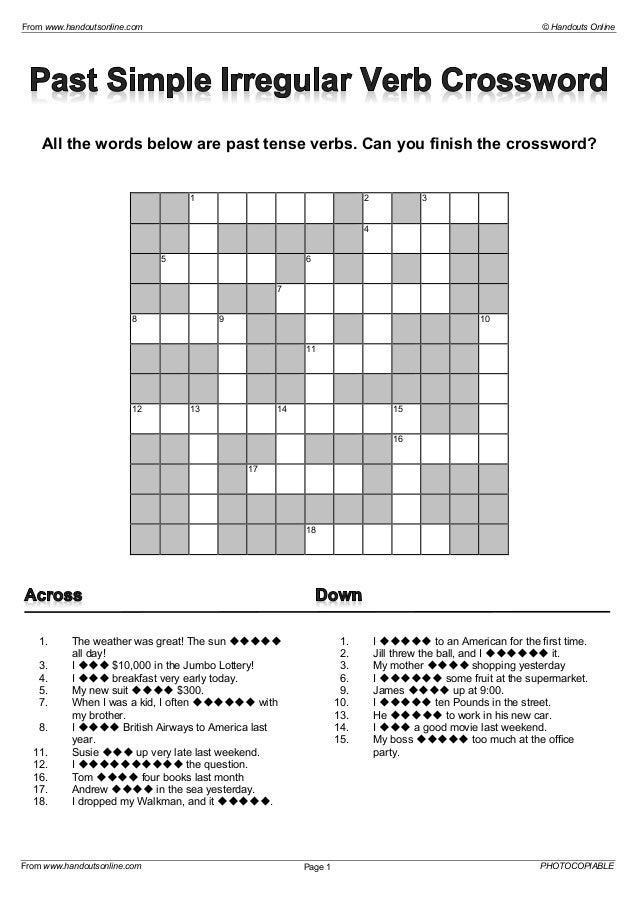 Crossword past and present Past and