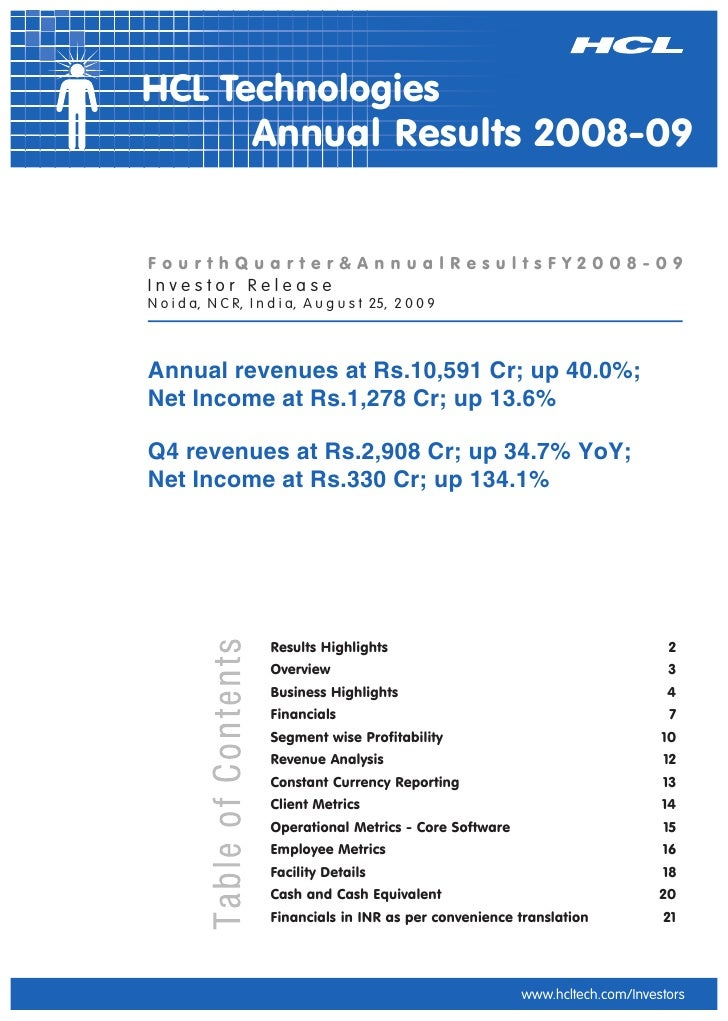 HCL Technologies       Annual Results 2008-09   FourthQuarter&AnnualResultsFY2008-09 Investor Release N o i d a, N C R, I ...