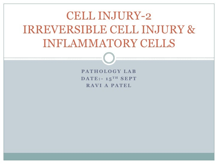 PATHOLOGY LAB<br />DATE:- 15TH SEPT<br />RAVI A PATEL<br />CELL INJURY-2IRREVERSIBLE CELL INJURY & INFLAMMATORY CELLS<br />