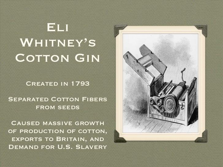 Eli Whitney's Cotton Gin <ul><li>Created in 1793 </li></ul><ul><li>Separated Cotton Fibers from seeds </li></ul><ul><li>Ca...