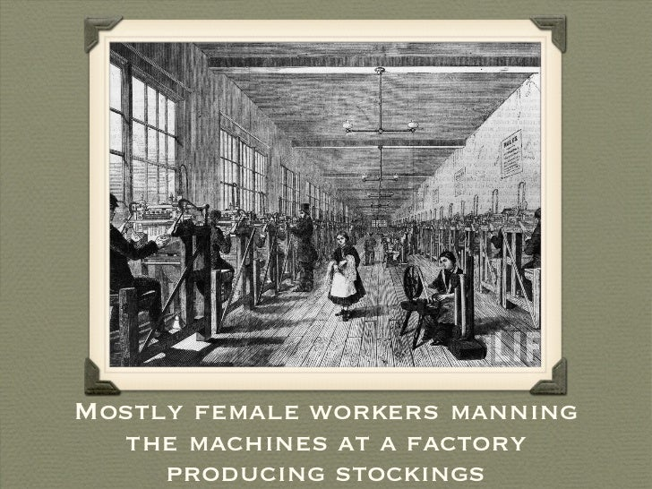Mostly female workers manning the machines at a factory producing stockings