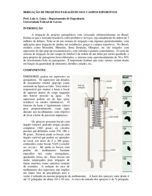 IRRIGAÇÃO DE PROJETOS PAISAGÍSTICOS E CAMPOS ESPORTIVOS Prof. Luiz A. Lima – Departamento de Engenharia Universidade Feder...