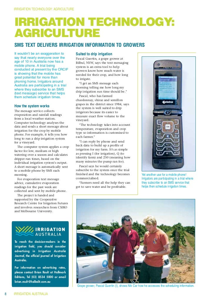 IRRIGATION TECHNOLOGY: AGRICULTURE    IRRIGATION TECHNOLOGY:    AGRICULTURE    SMS TEXT DELIVERS IRRIGATION INFORMATION TO...
