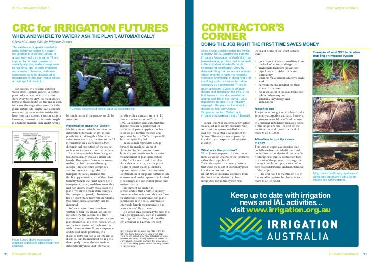 CrC for irrigation FuturEs     crc for irrigation futures     WHEN AND WHErE TO WATEr? ASK THE PLANT, AuTOMATICALLy     Ch...