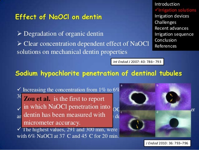 Effect of NaOCl on dentin  Degradation of organic dentin  Clear concentration dependent effect of NaOCl solutions on mec...