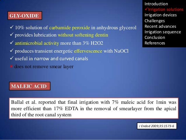 GLY-OXIDE  10% solution of carbamide peroxide in anhydrous glycerol  provides lubrication without softening dentin  ant...