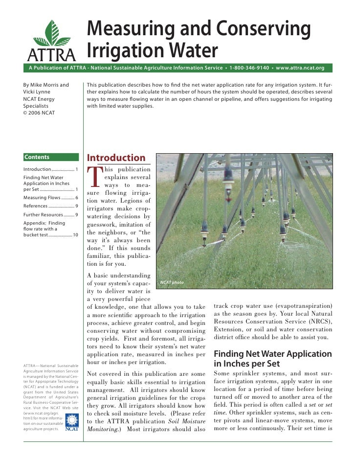 Measuring and Conserving   ATTRA Irrigation Water    A Publication of ATTRA - National Sustainable Agriculture Information...