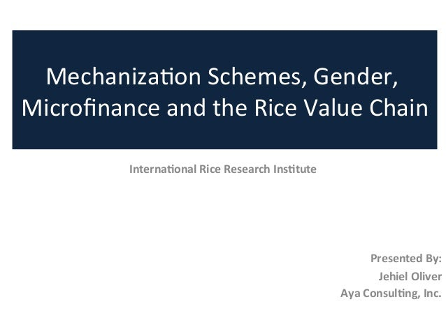 Internaonal	  Rice	  Research	  Instute	  	  	  	  	  	  Presented	  By:	  Jehiel	  Oliver	  Aya	  Consulng,	  Inc.	  Mech...