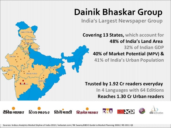 Dainik Bhaskar Group India's Largest Newspaper Group Covering 13 States,  which account for 48% of India's Land Area  32% ...