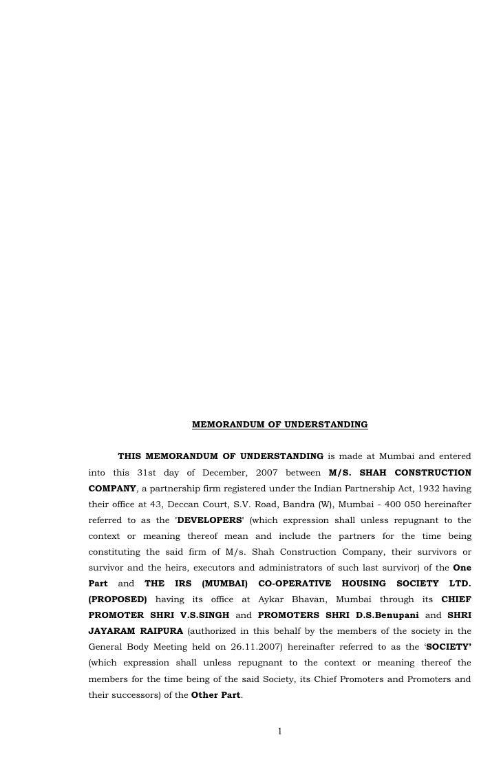 MEMORANDUM OF UNDERSTANDING          THIS MEMORANDUM OF UNDERSTANDING is made at Mumbai and entered into this 31st day of ...