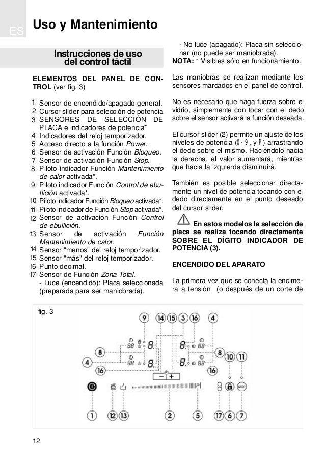 Instrucciones de uso del control táctil ELEMENTOS DEL PANEL DE CON- TROL (ver fig. 3) Sensor de encendido/apagado general....