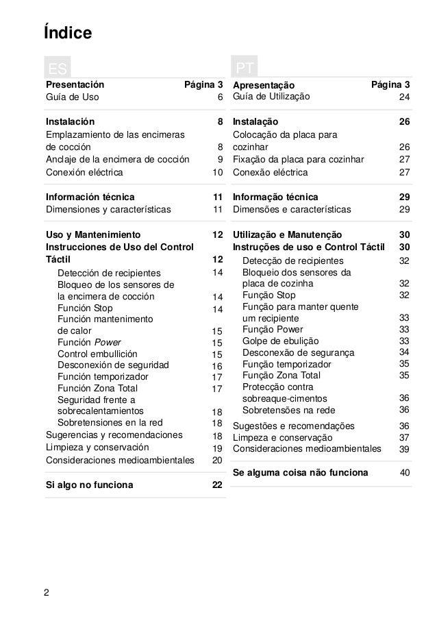 2 Índice Presentación Guía de Uso Instalación Emplazamiento de las encimeras de cocción Anclaje de la encimera de cocción ...