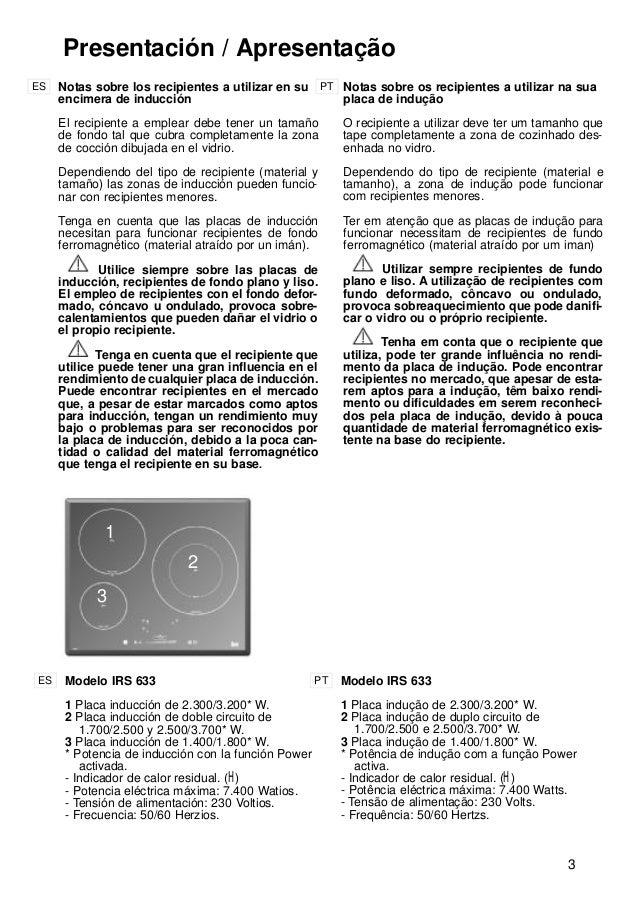 3 1 2 3 Presentación / Apresentação Notas sobre los recipientes a utilizar en su encimera de inducción El recipiente a emp...
