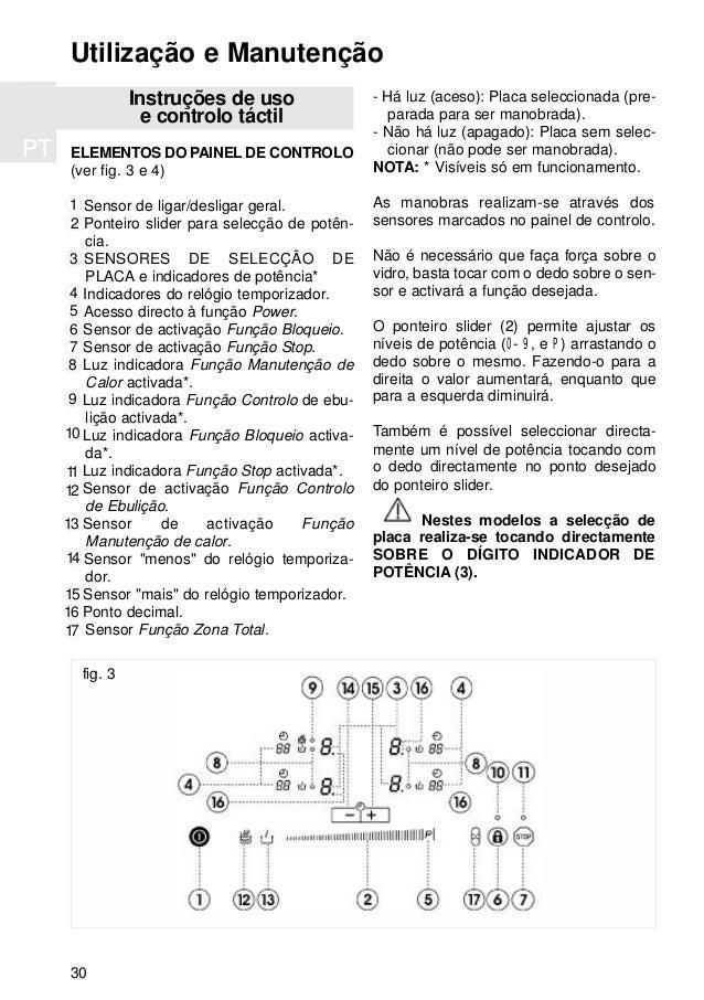 PT 30 Instruções de uso e controlo táctil ELEMENTOS DO PAINEL DE CONTROLO (ver fig. 3 e 4) Sensor de ligar/desligar geral....