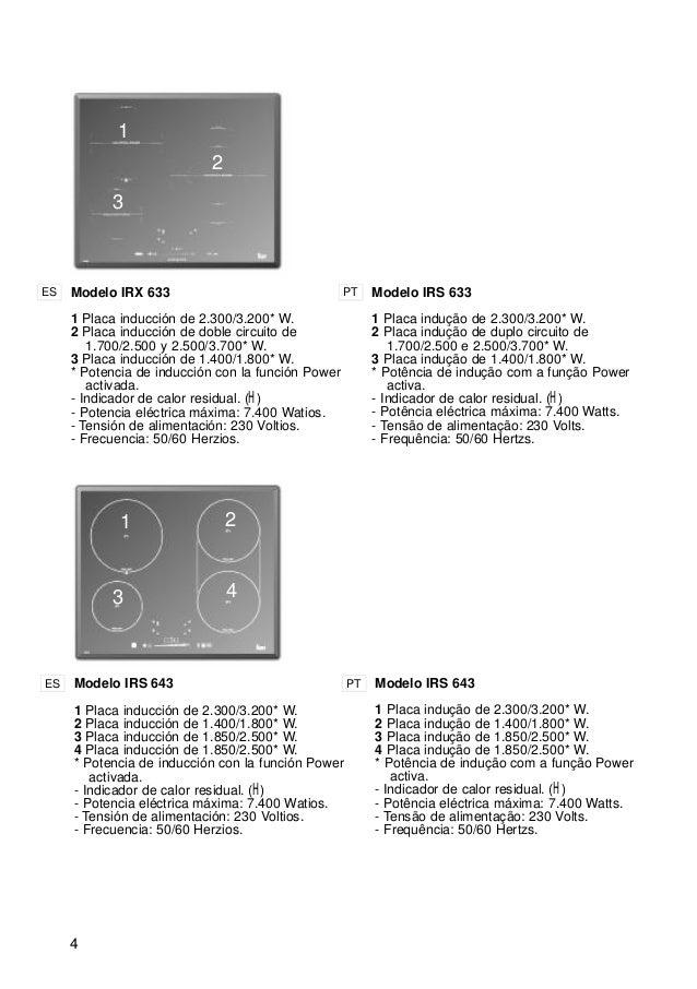 4 1 2 3 Modelo IRX 633 1 Placa inducción de 2.300/3.200* W. 2 Placa inducción de doble circuito de 1.700/2.500 y 2.500/3.7...