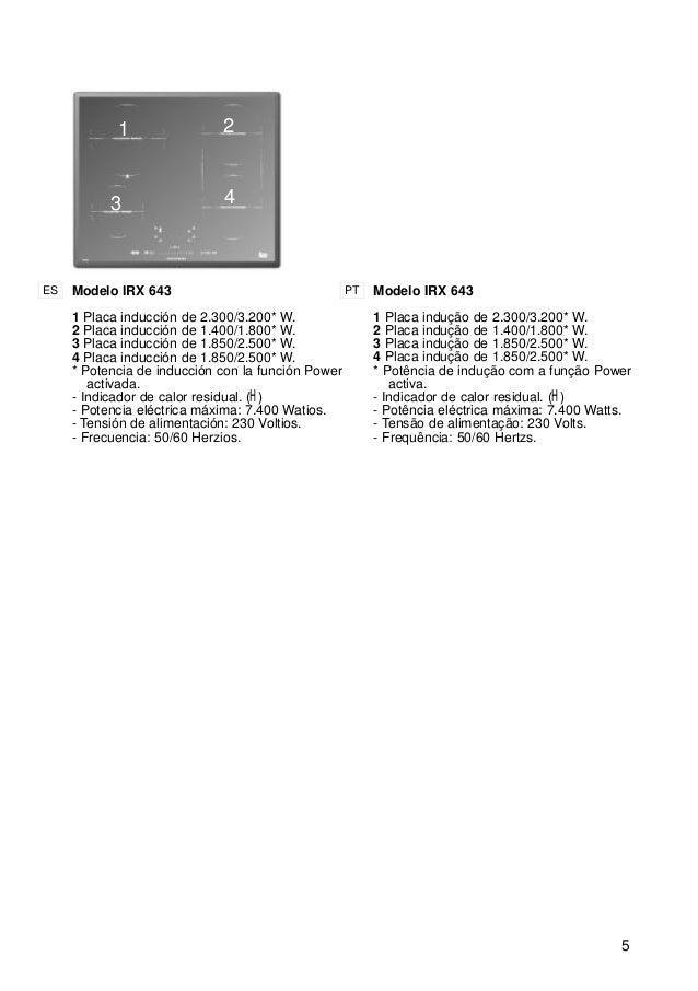 5 1 2 3 Modelo IRX 643 1 Placa inducción de 2.300/3.200* W. 2 Placa inducción de 1.400/1.800* W. 3 Placa inducción de 1.85...