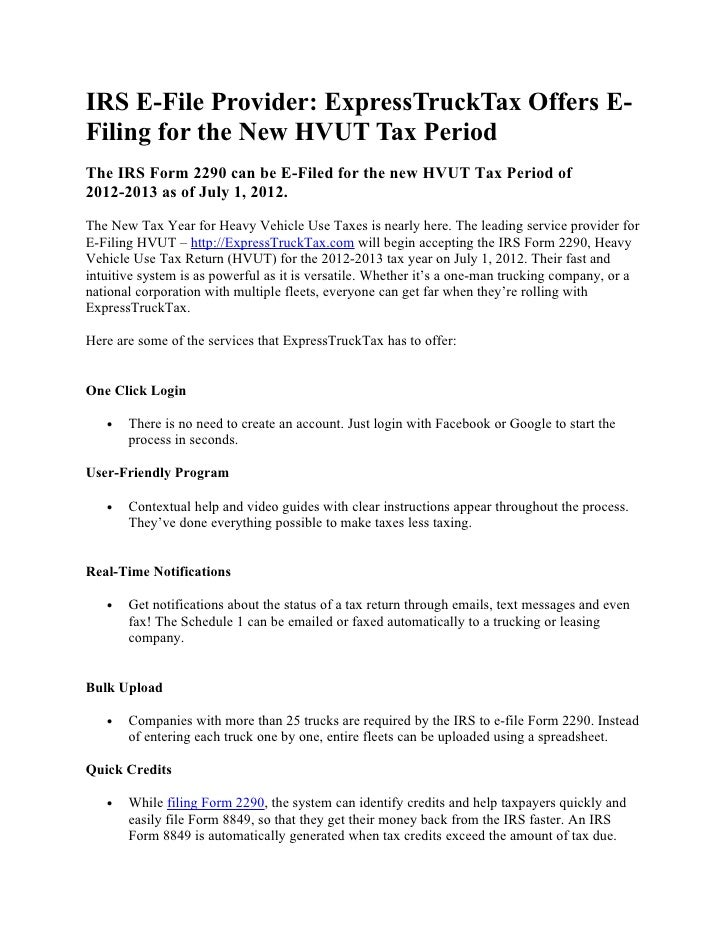 Irs E File Provider Express Trucktax Offers E Filing For The New Hvut