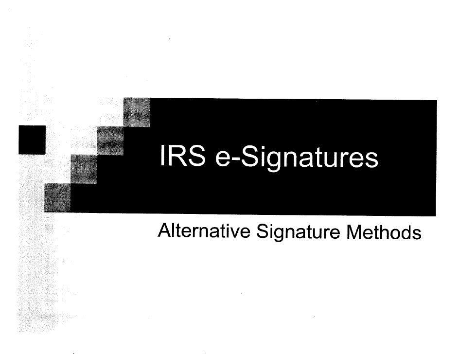 IRS Alternative Signatures
