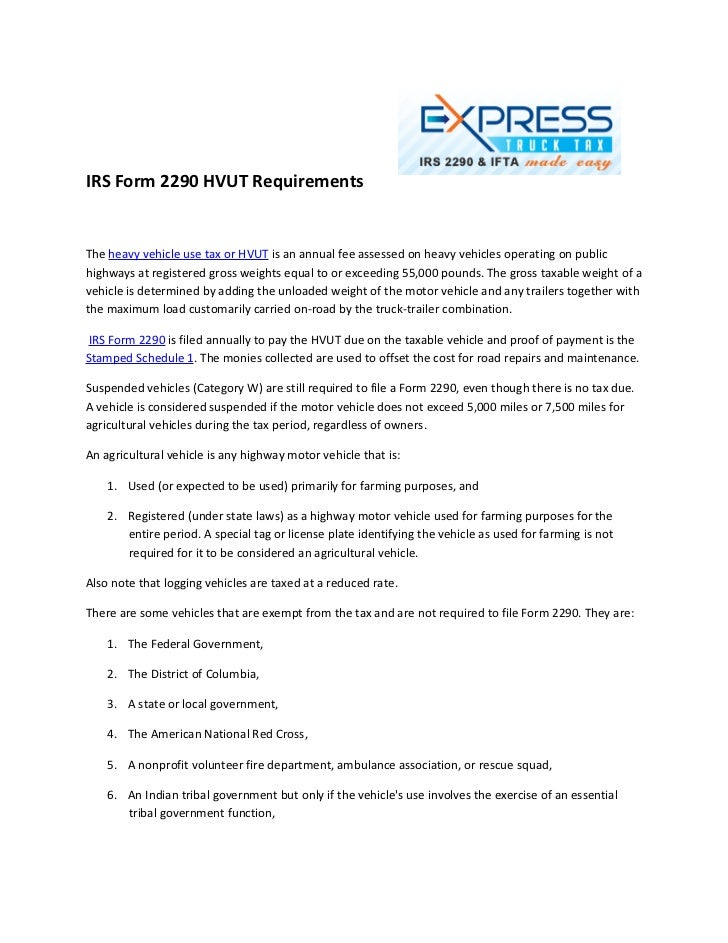 2290 form fee  Irs form 15 hvut requirements