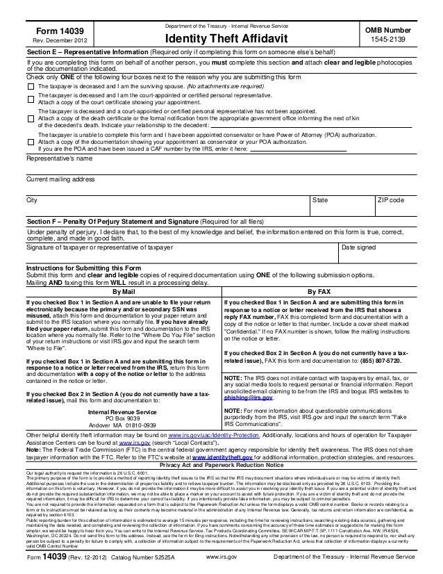 IRS ID Theft Affidavit Form 14039