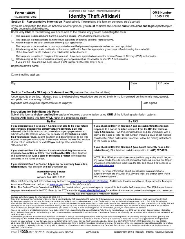 Irs Id Theft Affidavit Form