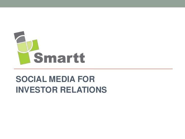 SOCIAL MEDIA FORINVESTOR RELATIONS