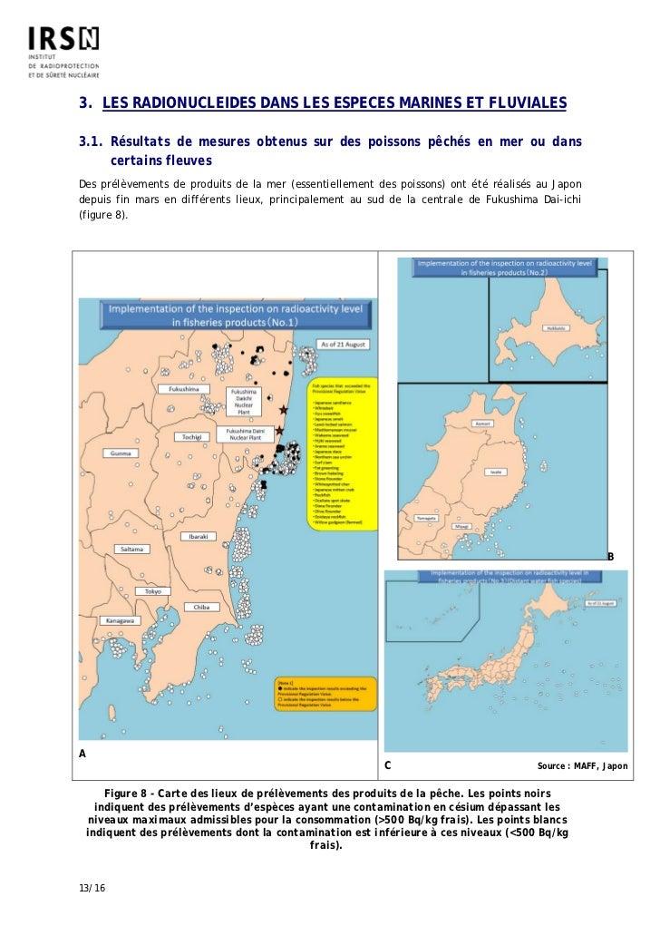 3. LES RADIONUCLEIDES DANS LES ESPECES MARINES ET FLUVIALES3.1. Résultats de mesures obtenus sur des poissons pêchés en me...