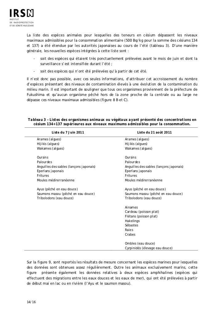 La liste des espèces animales pour lesquelles des teneurs en césium dépassent les niveauxmaximaux admissibles pour la cons...