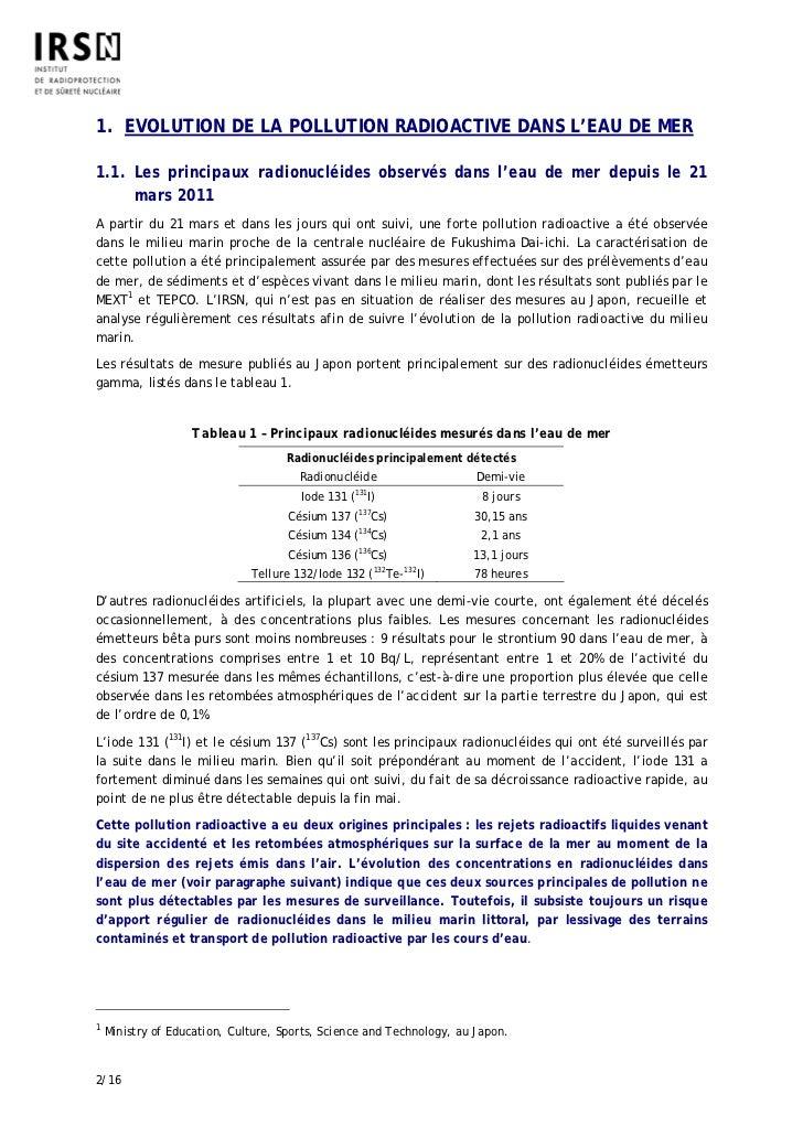 1. EVOLUTION DE LA POLLUTION RADIOACTIVE DANS L'EAU DE MER1.1. Les principaux radionucléides observés dans l'eau de mer de...