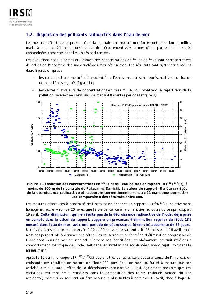 1.2. Dispersion des polluants radioactifs dans l'eau de merLes mesures effectuées à proximité de la centrale ont montré un...