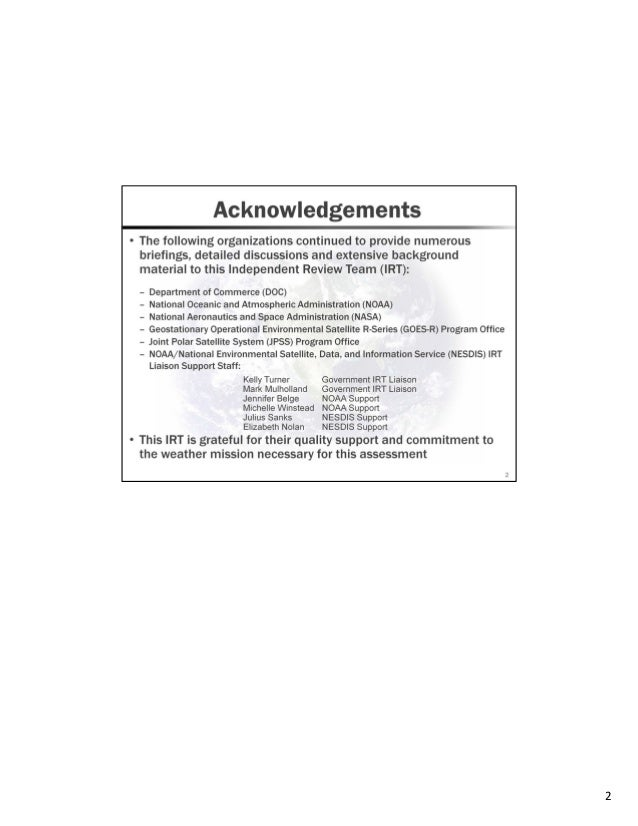 NOAA NESDIS Independent Review Team - Assessment update one year later Slide 2