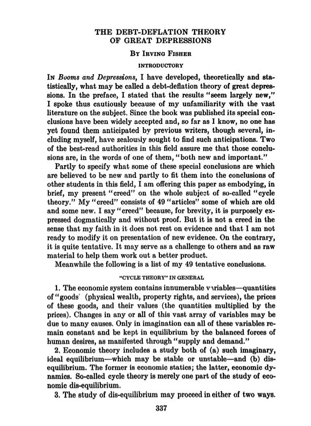 THE DEBT-DEFLATION THEORY OF GREAT DEPRESSIONS BY IRVING FISHER INTRODUCTORY IN Booms and Depressions, I have developed, t...