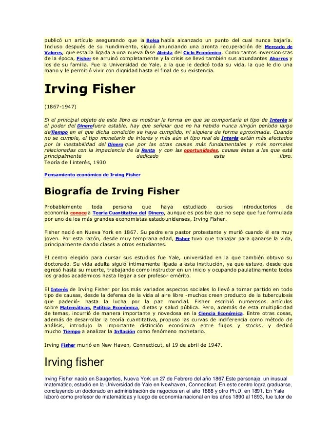 irving fisher Irving fisher - download as word doc (doc / docx), pdf file (pdf), text file (txt) or read online.