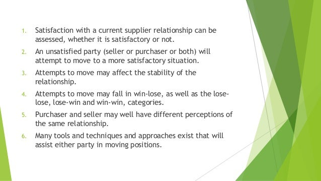 1. Satisfaction with a current supplier relationship can be assessed, whether it is satisfactory or not. 2. An unsatisfied...