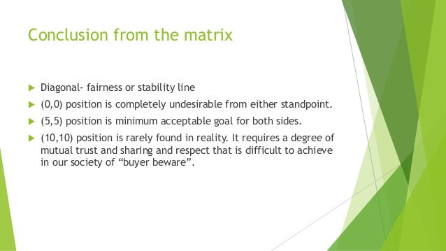 Conclusion from the matrix  Diagonal- fairness or stability line  (0,0) position is completely undesirable from either s...