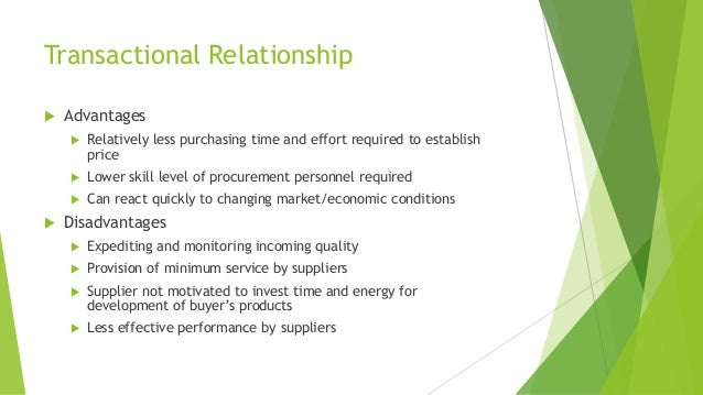 Transactional Relationship  Advantages  Relatively less purchasing time and effort required to establish price  Lower s...