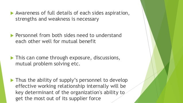  Awareness of full details of each sides aspiration, strengths and weakness is necessary  Personnel from both sides need...