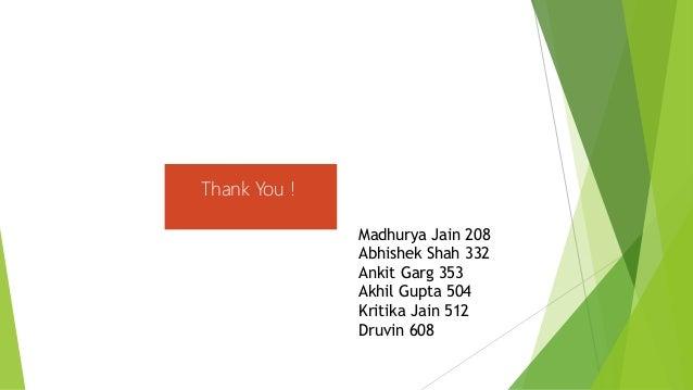 Thank You ! Madhurya Jain 208 Abhishek Shah 332 Ankit Garg 353 Akhil Gupta 504 Kritika Jain 512 Druvin 608