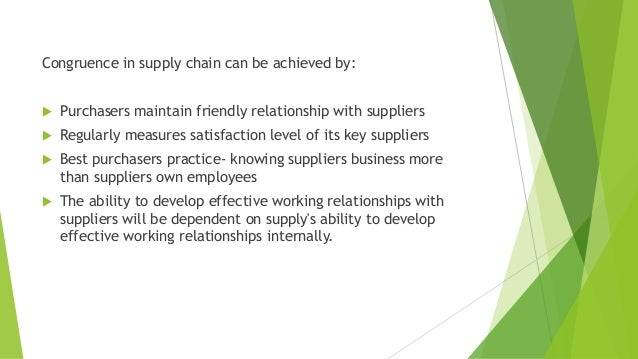 Congruence in supply chain can be achieved by:  Purchasers maintain friendly relationship with suppliers  Regularly meas...
