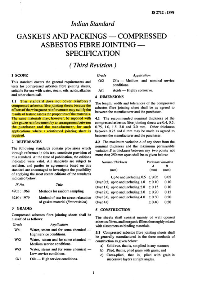 Asbestos Fibers Table With Standards : Is indian standard for compressed asbestos fiber