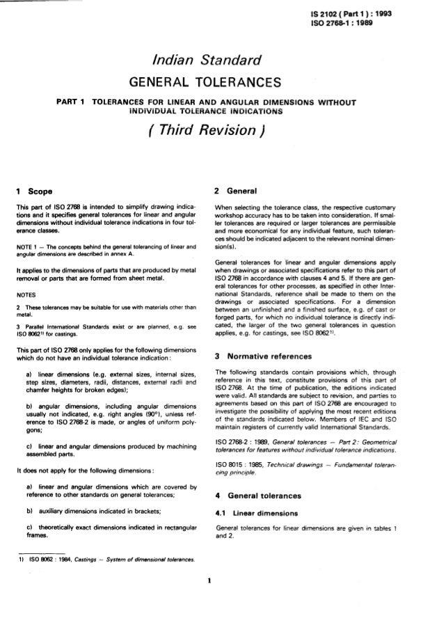 Is 2102 1 1993 general tolerance