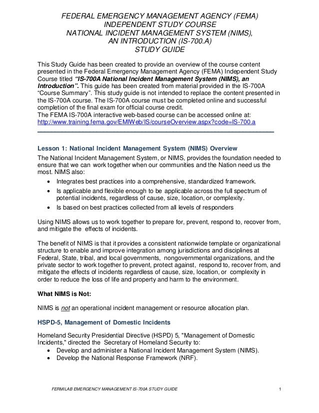 fema isc national incident management systems study guide rh slideshare net nims 700 b study guide nims 700 study guide pdf