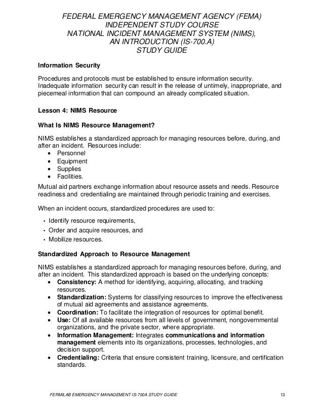 fema isc national incident management systems study guide rh slideshare net nims 700 study guide pdf nims 700 study guide pdf