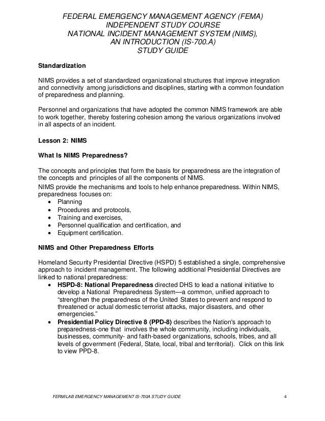 fema isc national incident management systems study guide rh slideshare net Nims 800 nims ics 700 study guide