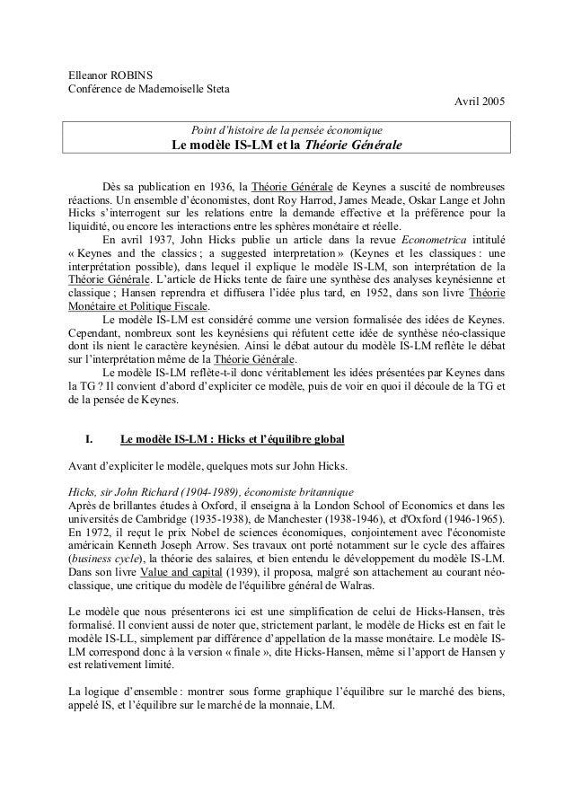 Elleanor ROBINS Conférence de Mademoiselle Steta Avril 2005 Point d'histoire de la pensée économique Le modèle IS-LM et la...
