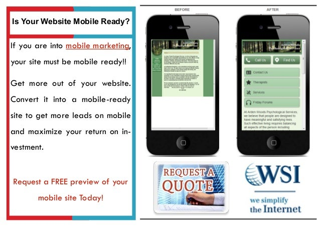 If you are into mobile marketing,your site must be mobile ready!!Get more out of your website.Convert it into a mobile-rea...