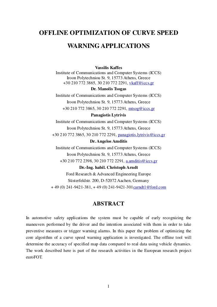 OFFLINE OPTIMIZATION OF CURVE SPEED                        WARNING APPLICATIONS                                         Va...