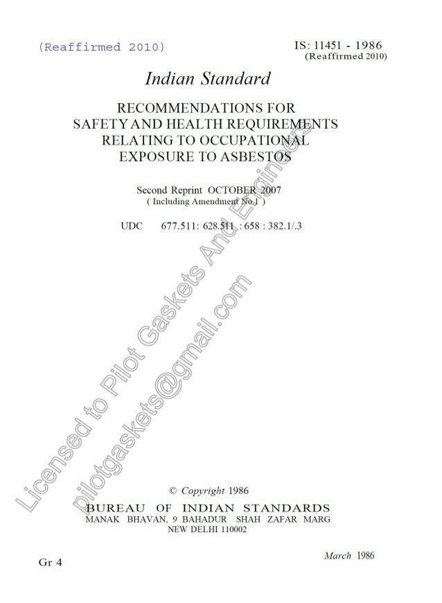 IS 11451: Health Exposure to Asbestos