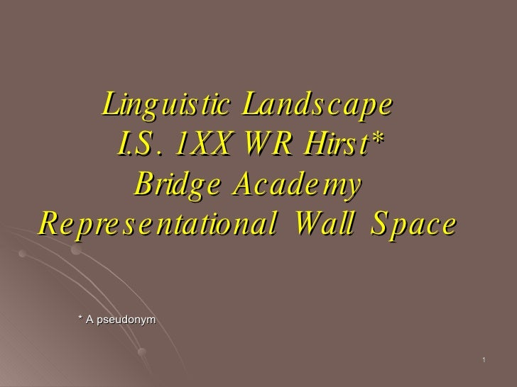 Linguistic Landscape I.S. 1XX WR Hirst* Bridge Academy Representational  Wall  Space * A pseudonym