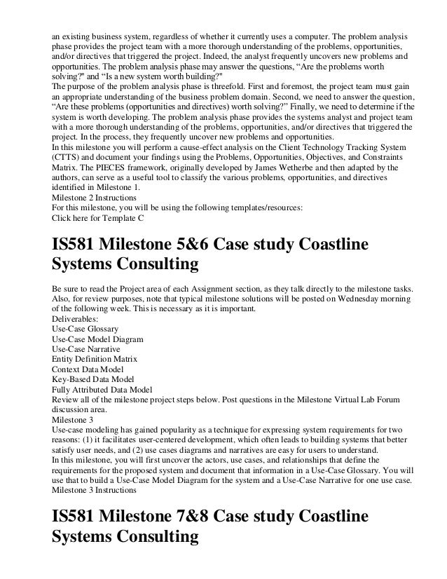 client technology tracking system feasibility milestone Is 581 entire course milestones a graded  and project feasibility for the client technology tracking system  is581 milestone 3&4 case study coastline systems .